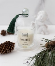 Kalėdom žvakė su stikliniu gaubtuvu
