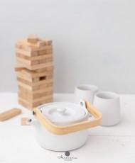 Keramikinis arbatinukas su puodeliais